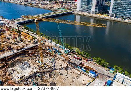 Kai Tak, Hong Kong 22 June 2020: Top view of Construction site