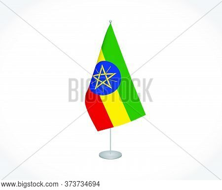 National Fabric Vector Flag Of Ethiopia Isolated On White Background.