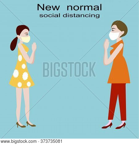 Two Woman Greeting Each Other By Raise Hands To Pay Respect For Social Distancing On Blue Background
