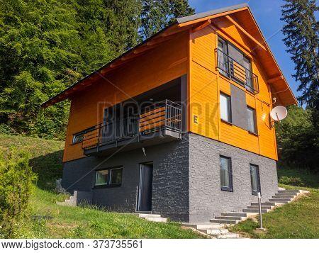 Martin, Slovakia - July 28, 2019: Vacation Cottages In Wellness Penzion Ferrata Near Martin City In