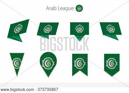 Arab League National Flag Collection, Eight Versions Of Arab League Vector Flags. Vector Illustratio