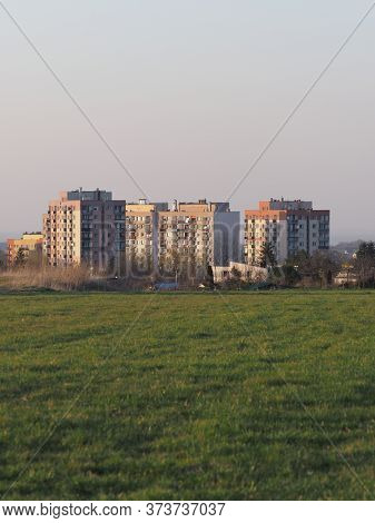 Green Meadow And Blocks Of Flats At European Bielsko-biala City In Silesian District In Poland, Clea