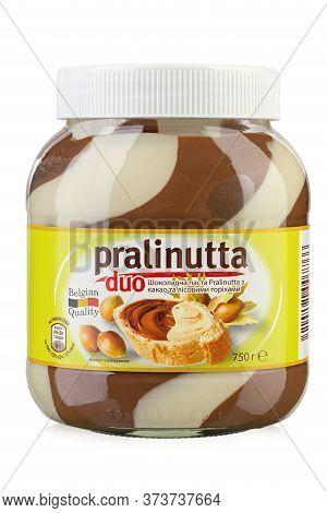Ukraine, Kyiv - June 01, 2020: Chocolate Paste With Milk Cocoa And Hazelnuts Pralinutta Duo, Isolate