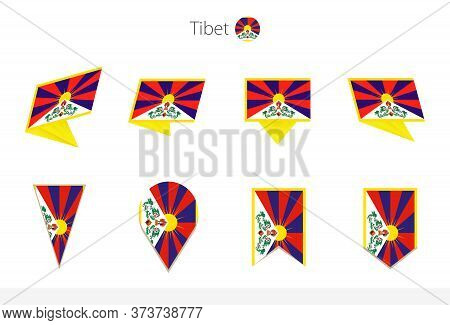 Tibet National Flag Collection, Eight Versions Of Tibet Vector Flags. Vector Illustration.