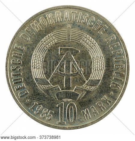 Historic 10 East German Mark Coin Special Edition(1985) Reverse Isolated On White Background