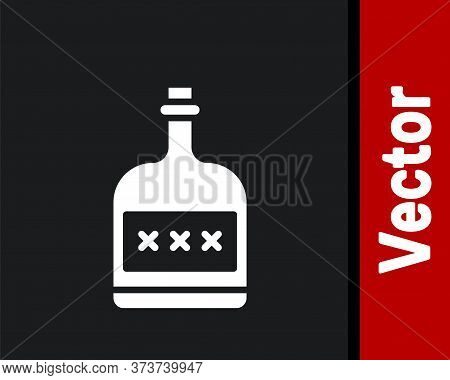 White Alcohol Drink Rum Bottle Icon Isolated On Black Background. Vector Illustration