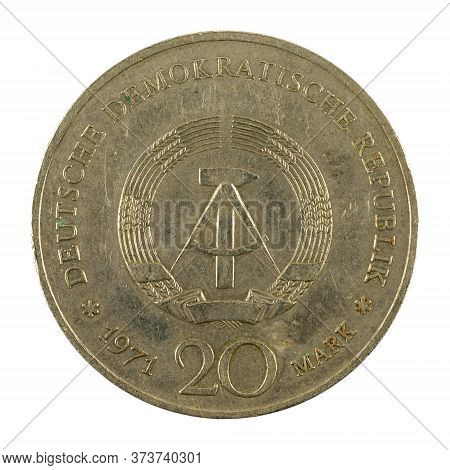 Historic 20 East German Mark Coin Special Edition(1971) Reverse Isolated On White Background