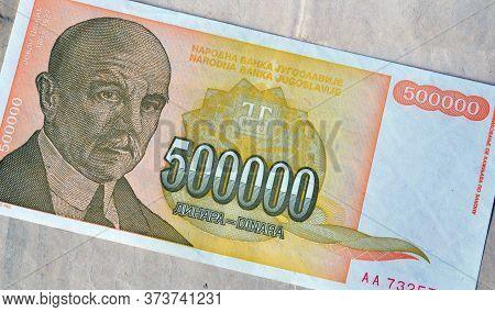 Obverse Of 500.000 Dinars Paper Bill Issued By Yugoslavia, That Shows Portrait Of Scientist Jovan Cv