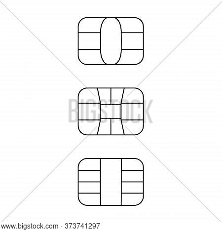 Emv Chip Line Icon Set. Vector Black Symbol Illustration For Credit And Debit Card Or Sim Card. Isol
