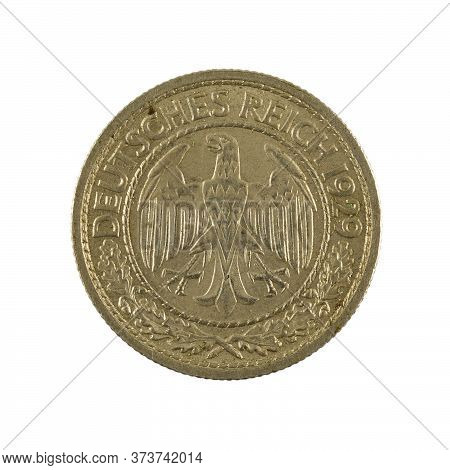 50 German Reichspfennig Coin (1929) Reverse Isolated On White Background