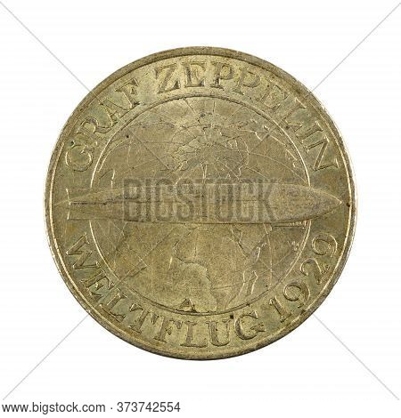 3 German Reichsmark Coin (1929) Reverse Isolated On White Background