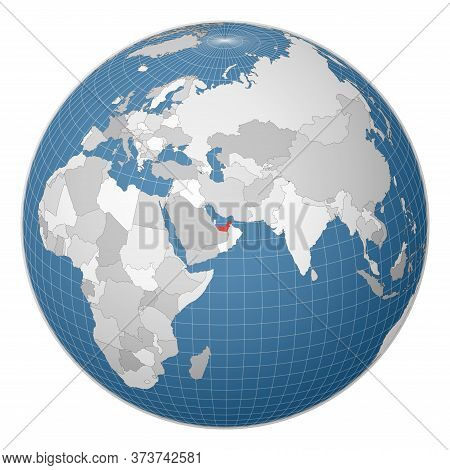 Globe Centered To Uae. Country Highlighted With Green Color On World Map. Satellite World Projection
