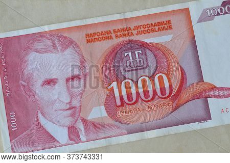 Obverse Of 1.000 Dinars Paper Bill Issued By Yugoslavia, That Shows Portrait Of Scientists Nikola Te