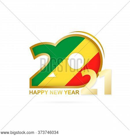 Year 2021 With Congo Flag Pattern. Happy New Year Design. Vector Illustration.