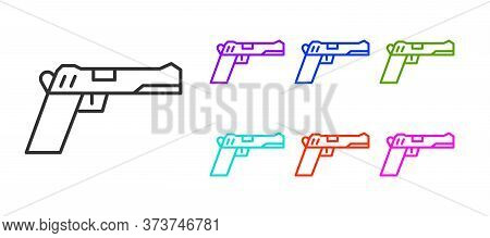 Black Line Pistol Or Gun Icon Isolated On White Background. Police Or Military Handgun. Small Firear