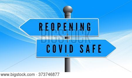 Reopening, Covid Safe Sticker Sign For Post Covid-19 Coronavirus Pandemic Illustration, Covid Safe E