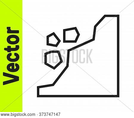 Black Line Landslide Icon Isolated On White Background. Stones Fall From The Rock. Boulders Rolling
