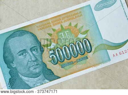 Obverse Of 500.000 Dinars Paper Bill Issued By Yugoslavia, That Shows Portrait Of Writer Dositej Obr
