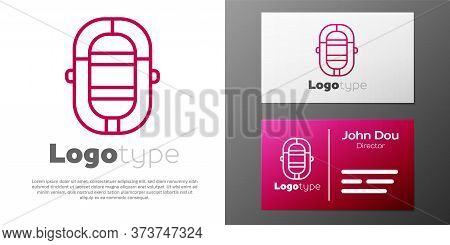 Logotype Line Rafting Boat Icon Isolated On White Background. Inflatable Boat. Water Sports, Extreme