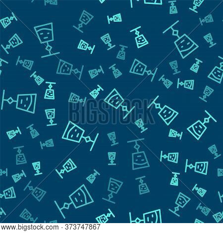 Green Line Wine Glass Icon Isolated Seamless Pattern On Blue Background. Wineglass Sign. Vector Illu