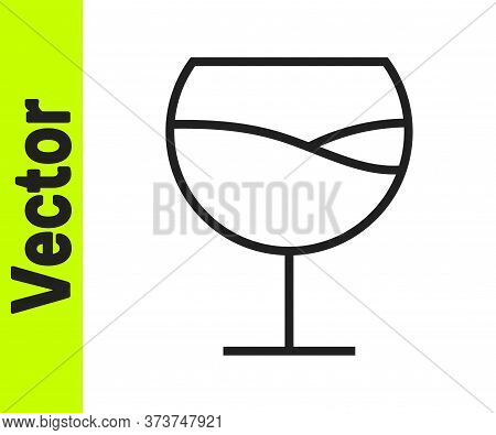 Black Line Wine Glass Icon Isolated On White Background. Wineglass Sign. Vector Illustration