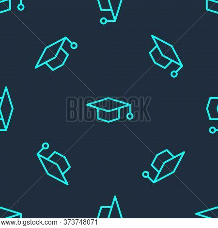 Green Line Graduation Cap Icon Isolated Seamless Pattern On Blue Background. Graduation Hat With Tas