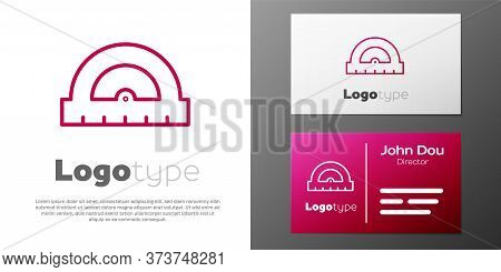 Logotype Line Protractor Grid For Measuring Degrees Icon Isolated On White Background. Tilt Angle Me