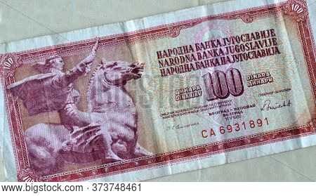 Obverse Of 100 Dinars Paper Bill Issued By Yugoslavia, That Shows Statue Of Horseman