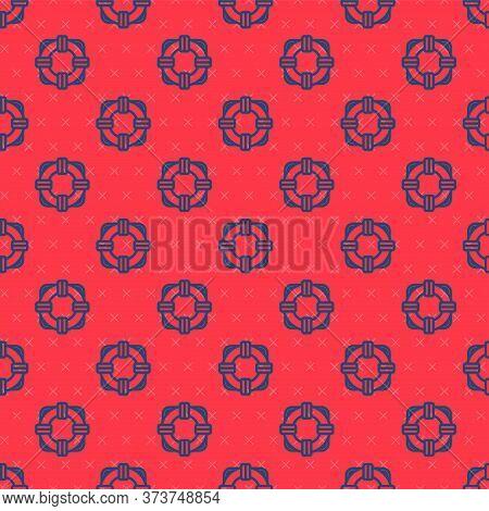 Blue Line Lifebuoy Icon Isolated Seamless Pattern On Red Background. Lifebelt Symbol. Vector Illustr