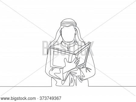 Single Continuous Line Drawing Of Young Muslim Person Reading And Recite Quran In Traditional Arab C