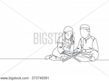 One Continuous Line Drawing Of Muslim And Muslimah Kids Reading And Recite Quran. Islamic Holy Day R