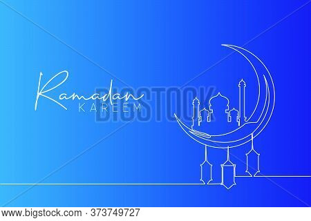 Ramadan Kareem Greeting Card, Poster And Banner Design Background. One Continuous Line Drawing Of Is