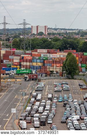Southampton Port, England, Uk - June 08, 2020: Parking Lot Full Of Cars In The Port Of Southampton.