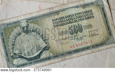 Obverse Of 500 Dinars Paper Bill Issued By Yugoslavia, That Shows Monument Of Nikola Tesla