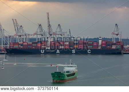 Southampton Port, England, Uk - June 08, 2020: Aerial View Of Southampton Port. Sunset. Massive Cont