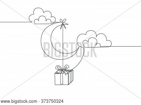 Single Continuous Line Drawing Of Present Gift Hanging On The Moon At The Cloudy Sky. Muslim Holiday