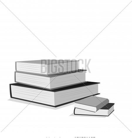 Stack Of Books Isolated On White For Banner Back To School Or Education Training Class. Vector Stack
