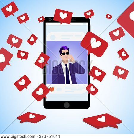 Famous Blogger Post, Collect Social Icons Red Hearts, Communication Online Using Social Media, Hands