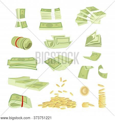Money Cash Banknotes Currency Vector Illustration. Various Money Bills Dollar, Paper Bank Notes And