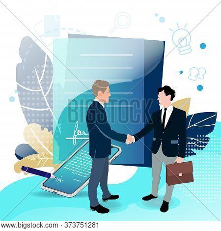 Good Deal, Signing Business Contract. Profitable Partnership. Investor Trust Sponsor Money, Startup
