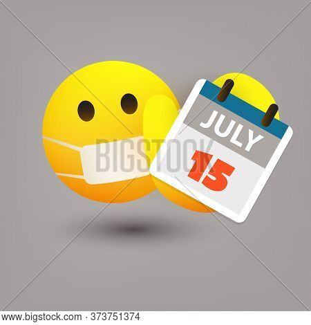 Tax Day Reminder Concept With Emoticon - Calendar Design Template - Usa Tax Deadline, New Extended D