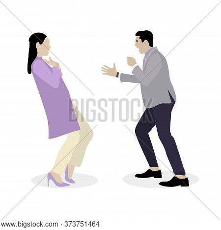 Quarrel And Bulling Husband Yells At Wife. Woman And Man Relationship Conflict, Illustration Couple