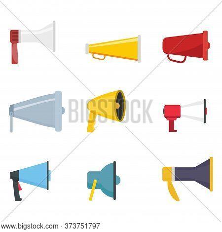 Set Of Megaphone Flat Color. Loud Broadcasting, Voice Shouting, Vector Bullhorn And Loudspeaker, Bro