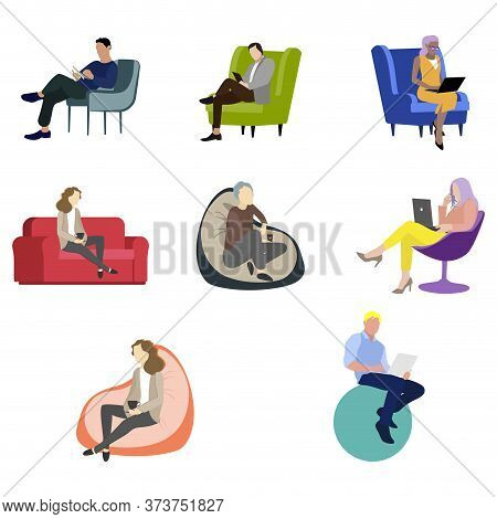 People Woman Man Siitting On Chair And Armchair. Illustration Adult People Cartoon Sit In Couch, Sit