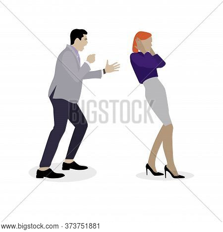 Husband Shouting To Wife, Boss Yelling To Staff. Bullying Concept In Family And Work. Vector Conflic