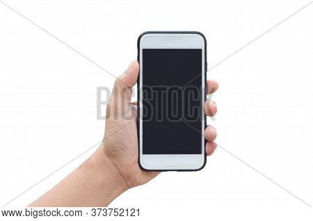 Woman Hand Holding A White Smartphone, Isolated On White.