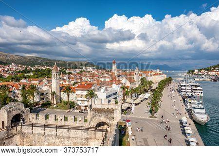 Beautiful panorama of Trogir old town at sunny day, Adriatic sea, Croatia. Beautiful panorama cityscape of medieval croatian town Trogir