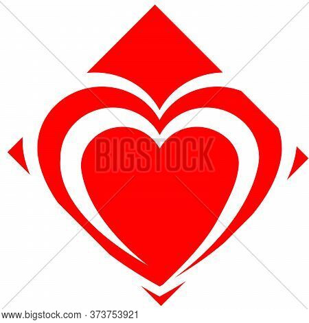 Heart Art Creative Pictorial Mark Logo Design. Red Heart