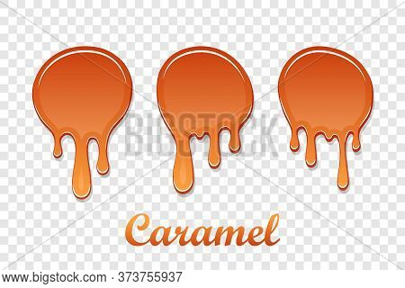 Caramel Drop 3d Set. Realistic Caramel Melted Sauce. Flow Liquid Isolated White Transparent Backgrou
