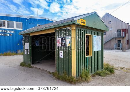 Nuuk, Greenland - August 16, 2019: Wooden Bus Stop In The Nuuk Center, Greenland.